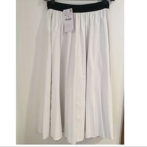 Zara Faux Leather Pleated Midi Skirt NWT